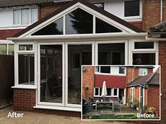 New build conservatory with Leka roof